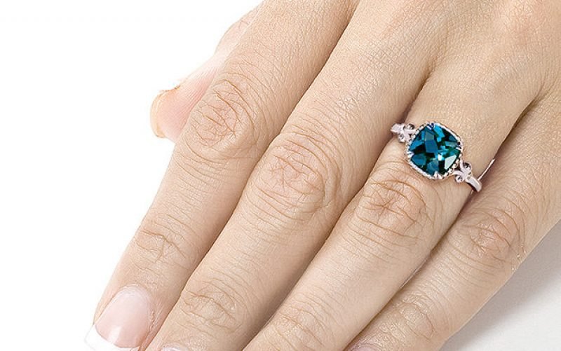 Blue Topaz and Diamond Engagement Ring