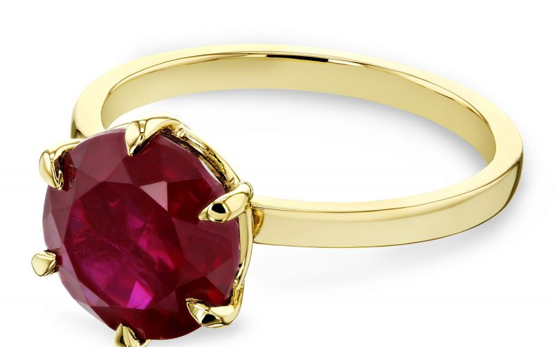 Red Ruby 6-Prong Solitaire Ring