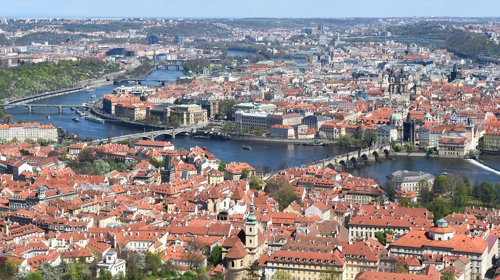 View of Prague from Petrin Hill observation tower