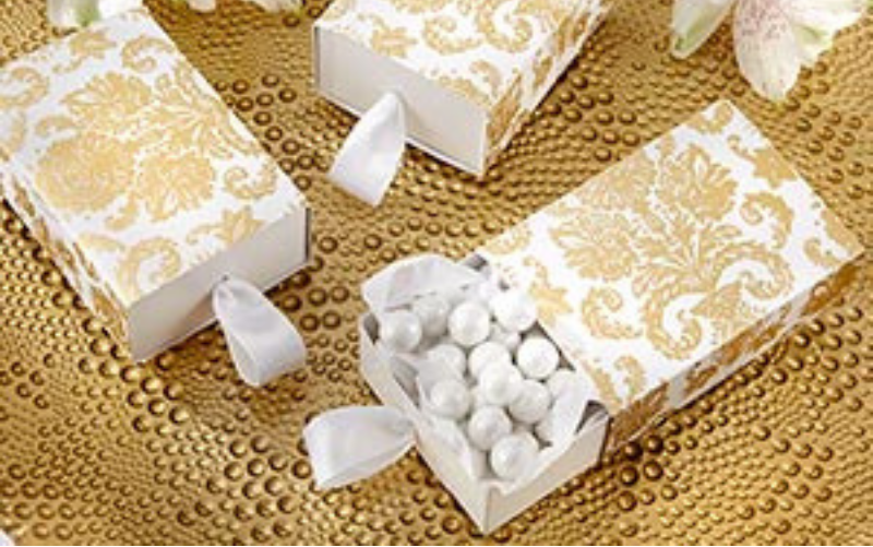 Gold Damask Wedding Favor Box
