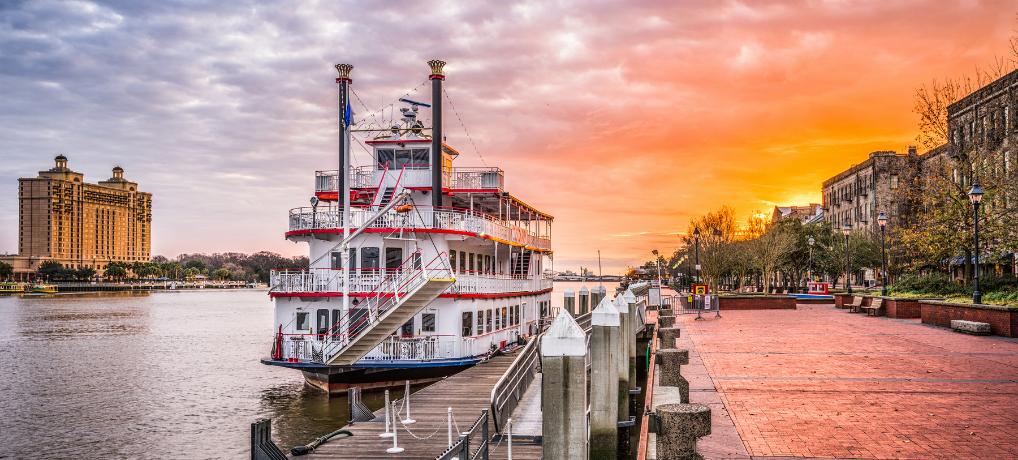 Savannah riverfront at sunrise