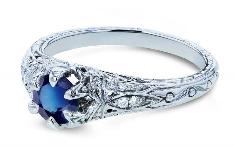 Sapphire and Diamond 6-Prong Antique Engagement Ring